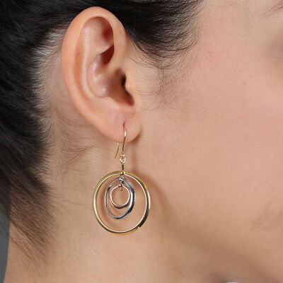 Toscano Tri-Color Spinning Circles Earrings 14K