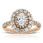 Rose Gold Double Halo Oval Diamond Ring 14K