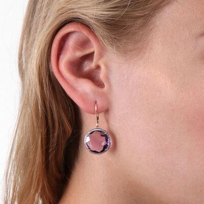 Round Amethyst & Diamond Earrings 14K