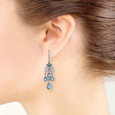 Mixed Cut Blue Topaz Chandelier Earrings 14K