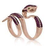 Rose Gold Double Finger Gemstone & Diamond Snake Ring 14K