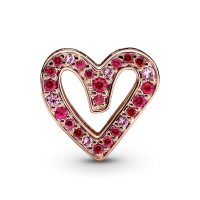 Pandora Sparkling Synthetic Ruby Red & Pink Crystal Freehand Heart Charm