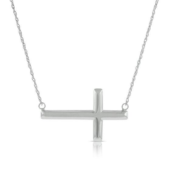 Sideways Cross Necklace 14K