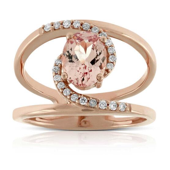 Rose Gold Lotus Garnet & Diamond Ring 14K