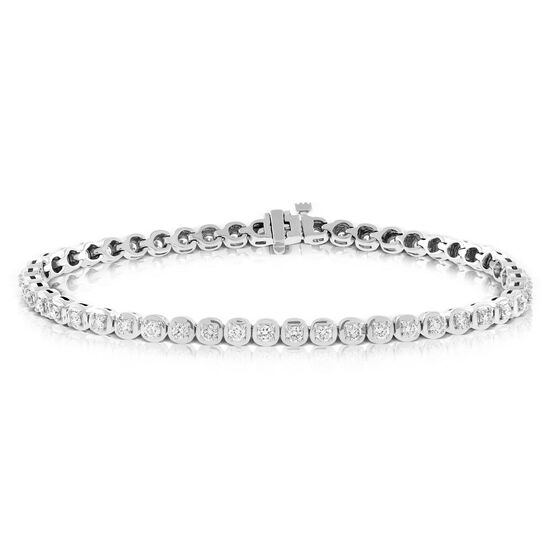 Cushion Shaped Link Diamond Bracelet 14K, 2 ctw.