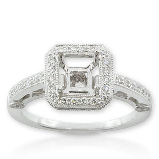 Diamond Semi-Mount Ring in Platinum