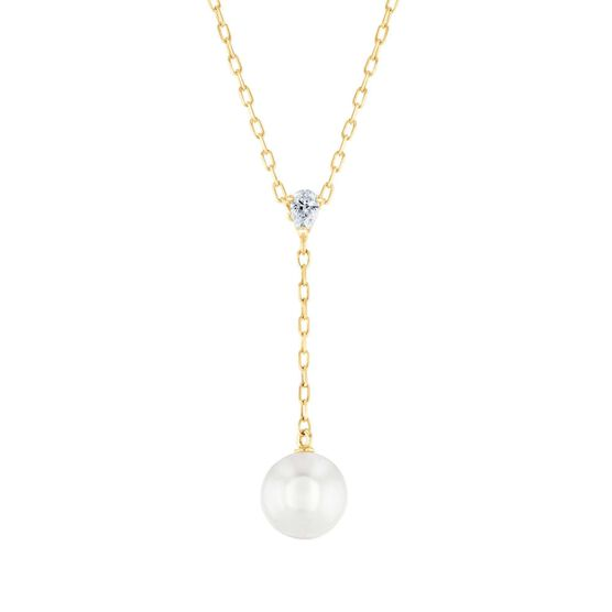 Mikimoto Akoya Cultured Pearl & Diamond 'Y' Drop Necklace 18K
