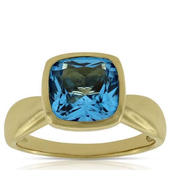 Bezel Set Blue Topaz Ring 14K