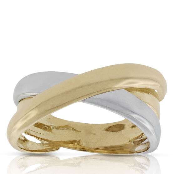 Toscano Two-Tone Crossover Ring 18K