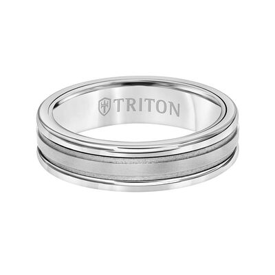TRITON Custom Comfort Fit Band in White Tungsten & 14K, 6 mm