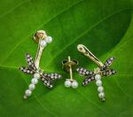 Brown Diamond, Peridot & Pearl Dragonfly Earrings 14K