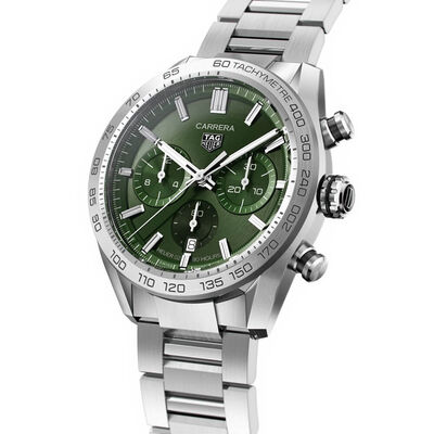 TAG Heuer Carrera Heuer 02 Green Dial Chronograph Watch, 44mm