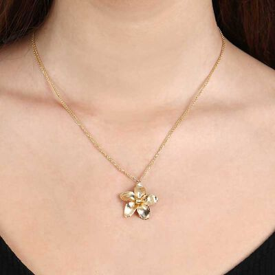Toscano Double Chain Flower Necklace 14K