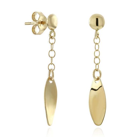 Polished Oval Dangle Earrings 14K