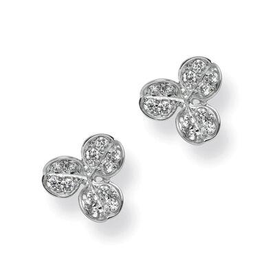 Mikimoto Fortune Leaves Akoya Pearl & Diamond Stud Earrings 18K