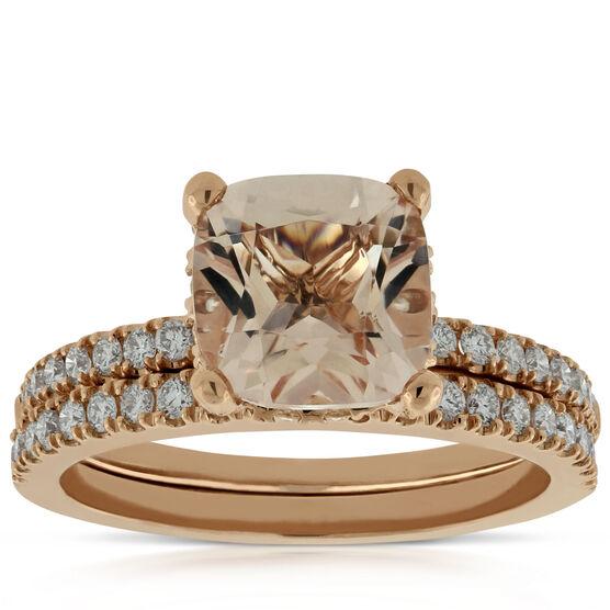 Rose Gold Morganite & Diamond Bridal Set 14K