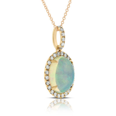Rose Gold Opal & Diamond Pendant 14K