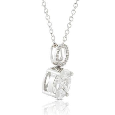 Fancy Diamond Circle Cluster Drop Necklace 14K