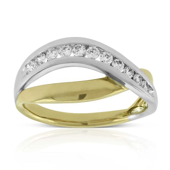 Crossover Channel Diamond Ring 14K