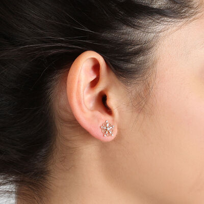 Rose Gold Floral Diamond Earrings 14K