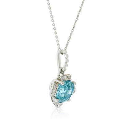 Blue Zircon & Diamond Flower Necklace14K