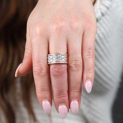 Rose Gold Wide Honeycomb Diamond Ring 14K
