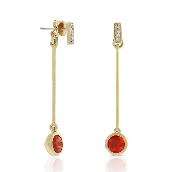 Fire Opal & Diamond Dangle Earrings 14K
