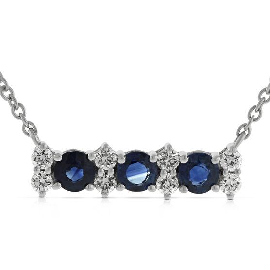 Sapphire & Diamond Bar Necklace 14K