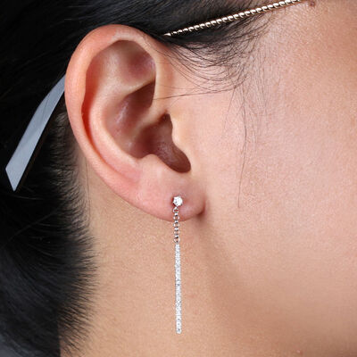 Diamond Bar Dangle Earrings 14K