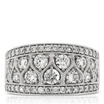 Wide Decorative Diamond Band 14K