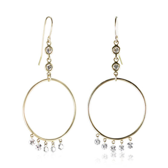 Drilled Collection Circle Diamond Drop Earrings 18K