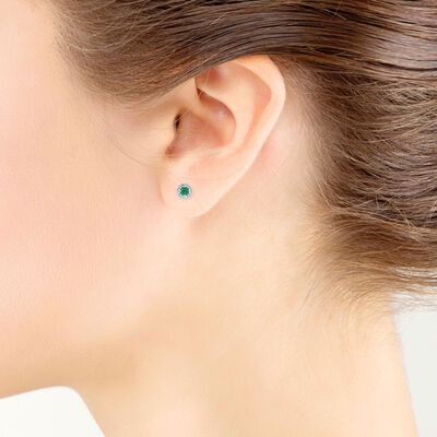 Emerald & Diamond Halo Earrings 14K