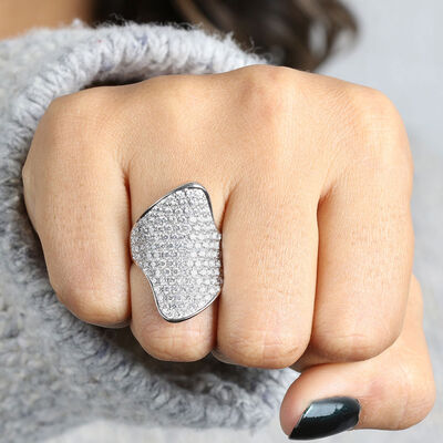 Diamond Pavé Freeform Ring 14K
