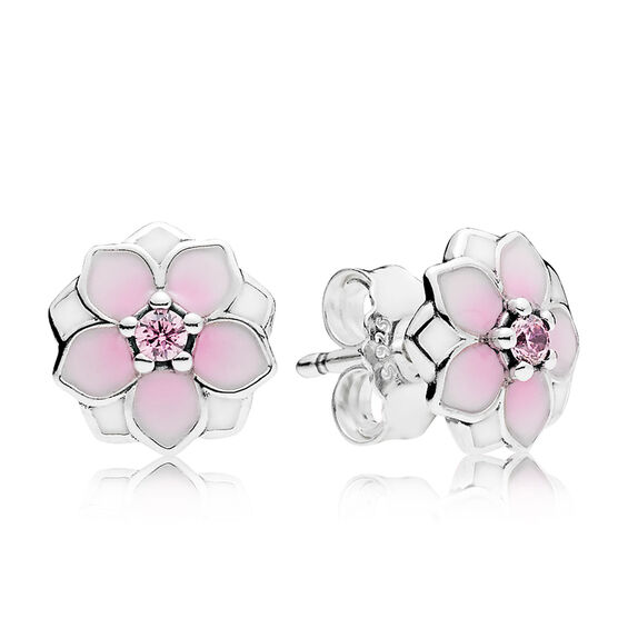 PANDORA Magnolia Bloom Enamel & CZ Earrings