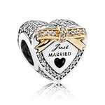 PANDORA Wedding Heart CZ Charm, Silver & 14K