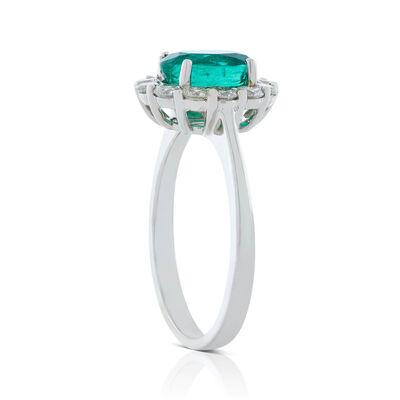 Oval Emerald & Diamond Halo Ring 14K