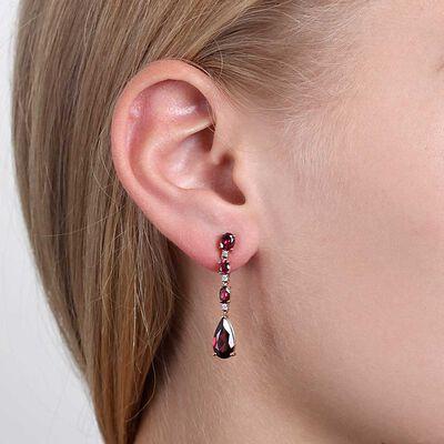 Rose Gold Rhodolite Garnet & Diamond Drop Earrings 14K