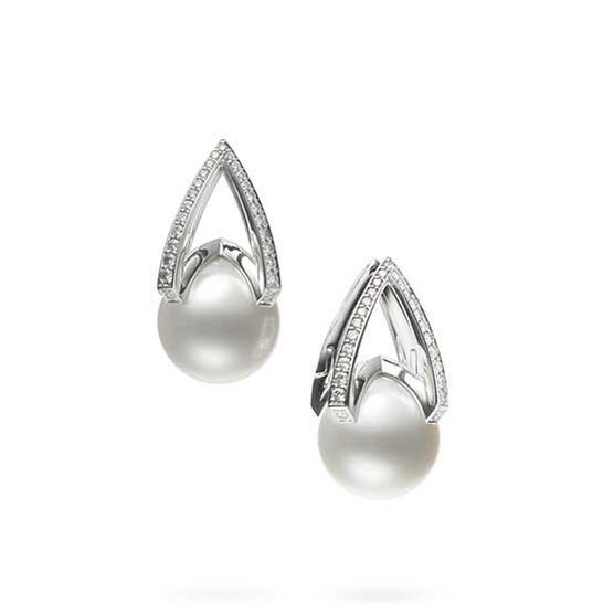 Mikimoto M Collection White South Sea Cultured Pearl & Diamond Earrings 18K