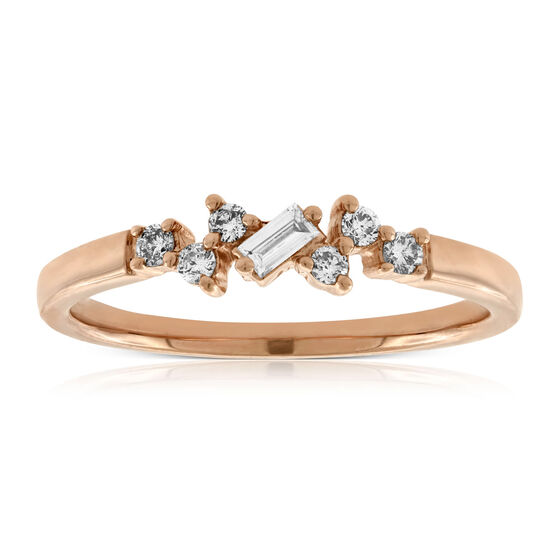 Rose Gold Scattered Baguette & Round Diamond Band 14K