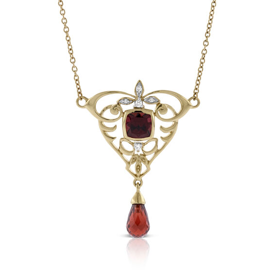Garnet & Diamond Briolette Drop Necklace 14K