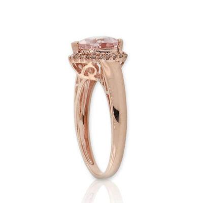Rose Gold Morganite & Diamond Heart Ring 14K