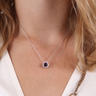 Purple Garnet & Diamond Halo Pendant 14K