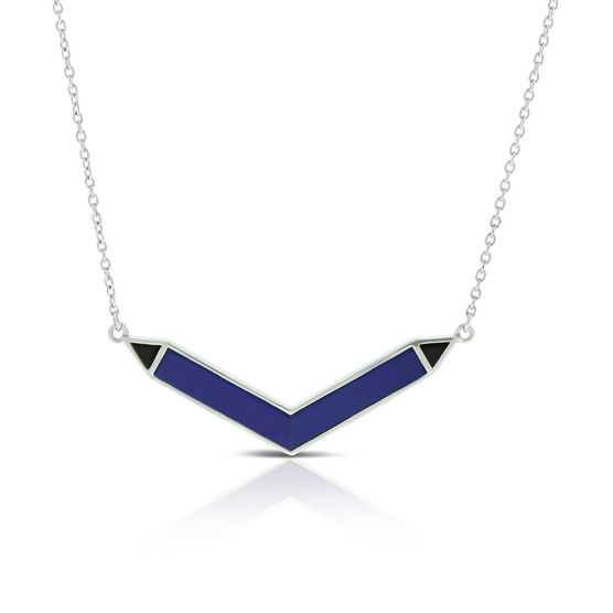 Lisa Bridge Lapis Lazuli & Onyx Chevron Necklace