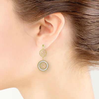 Toscano Mother of Pearl Double Circle Earrings 14K