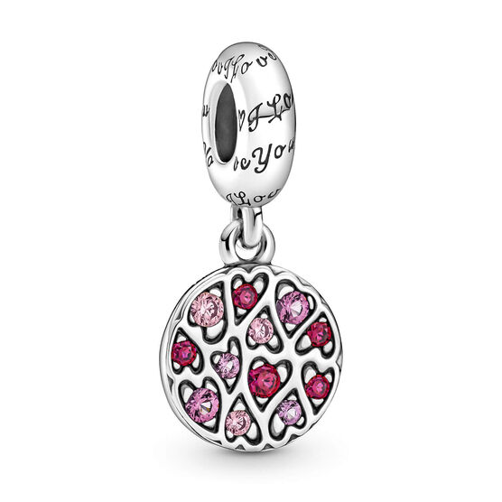 Pandora Sparkling Synthetic Ruby & Crystal Heart Pattern Dangle Charm