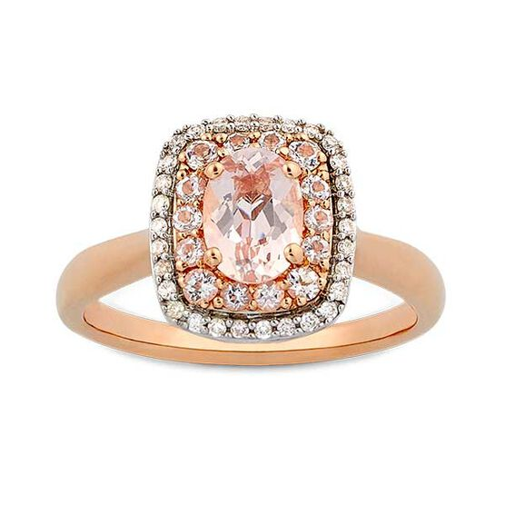 Rose Gold Morganite & Diamond Double Halo Ring 14K