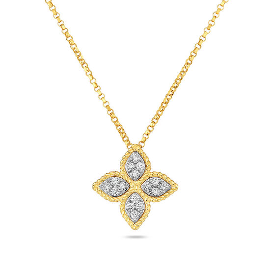 Roberto Coin Princess Flower Diamond Petal Pendant 14K