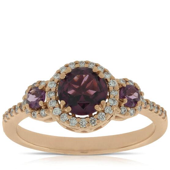 Rose Gold Rhodolite Garnet & Diamond 3-Stone Ring 14K
