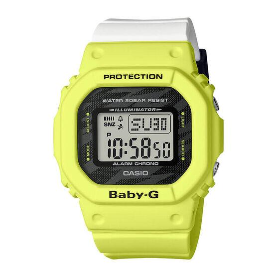 G-Shock Baby-G Yellow & White Rectangular Digital Watch, 44.7mm