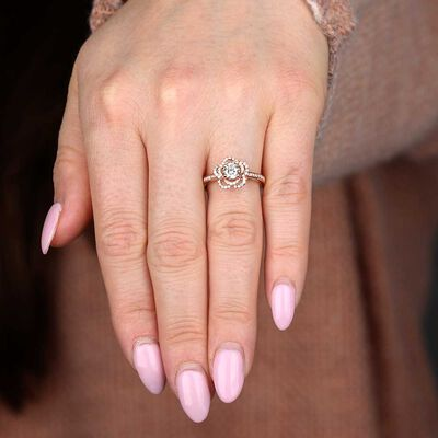 Rose Gold Diamond Flower Engagement Ring